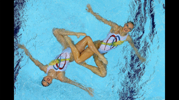 Mary Killman and Mariya Koroleva of the United States compete in the women