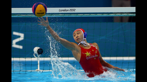 Goalkeeper Jun Yang of China makes a save against Italy during the women