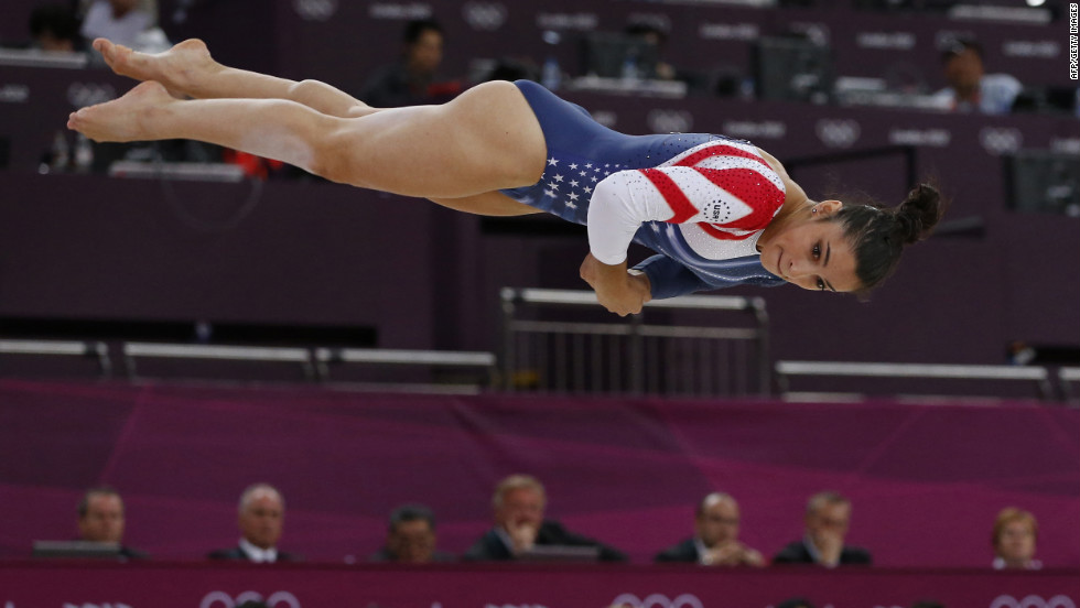 Alexandra Raisman goes airborne during the floor exercise final.