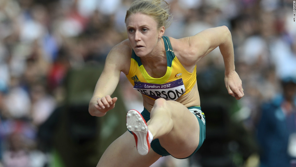 Sally Pearson competes in the women's 100m hurdles heats on August 6.