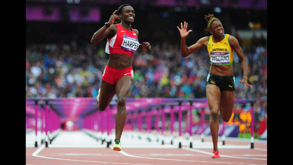 Dawn Harper of the United States leads Shermaine Williams of Jamaica in the women