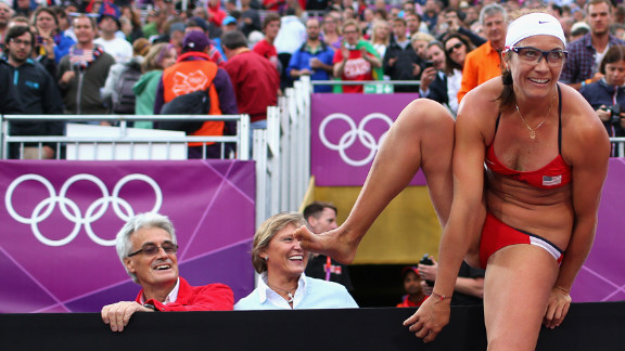 Misty May-Treanor of the United States celebrates after the women
