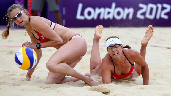 Kerri Walsh Jennings and Misty May-Treanor of the United States collide during the women