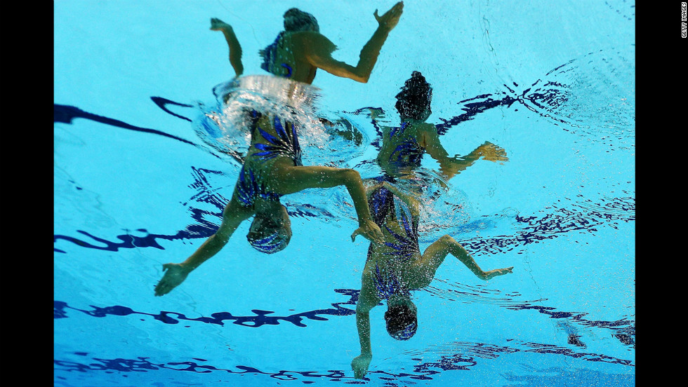 The English synchronized swimming team was awarded extra points for additional limbs.