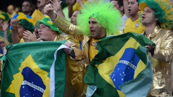 "Famed Brazilian TV personality ""A Bola de Pelo"" -- ""The Hairball"" -- cheers for his favorite team at the women"