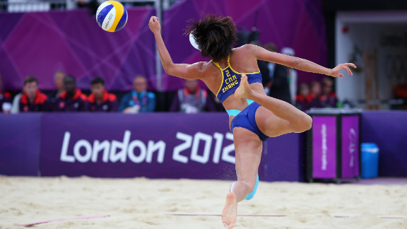 Xi Zhang of China dives for the ball during the women