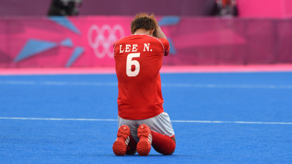 Lee Nam-Yong of South Korea reacts after losing the men