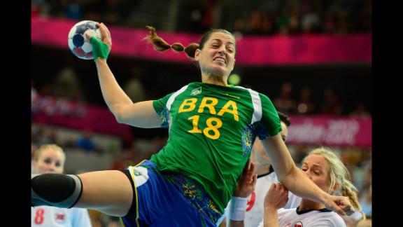 Brazilian left back Eduarda Amorim jumps to shoot during the women