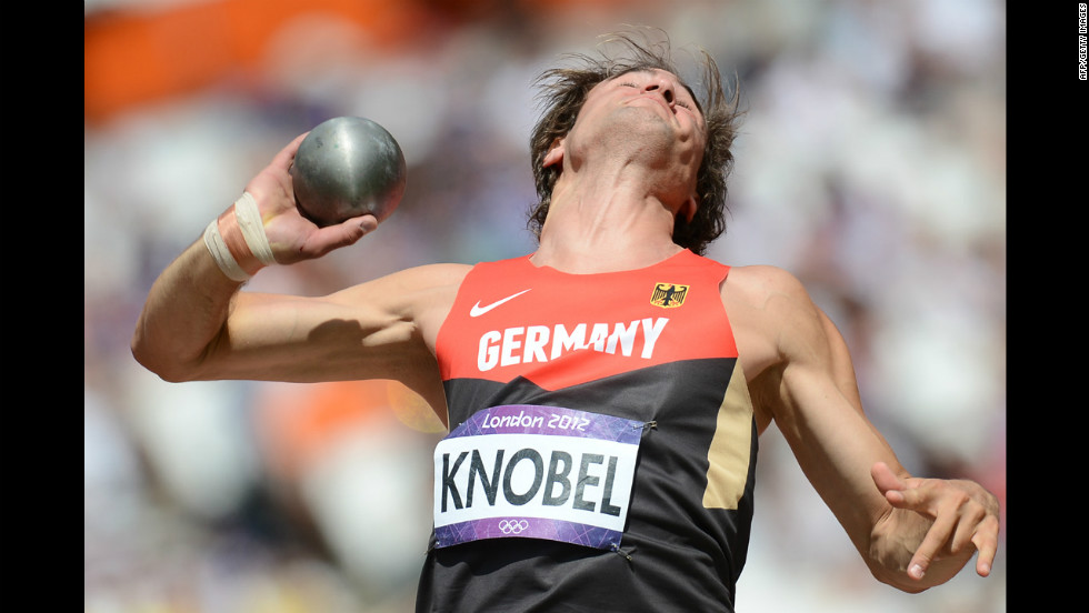 Germany's Jan Felix Knobel competes in the men's decathlon's shot put qualifications.