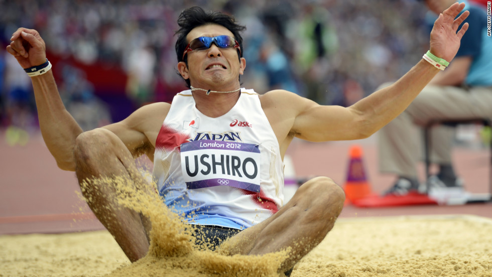 Japan's Keisuke Ushiro competes in the men's decathlon long jump qualifications.