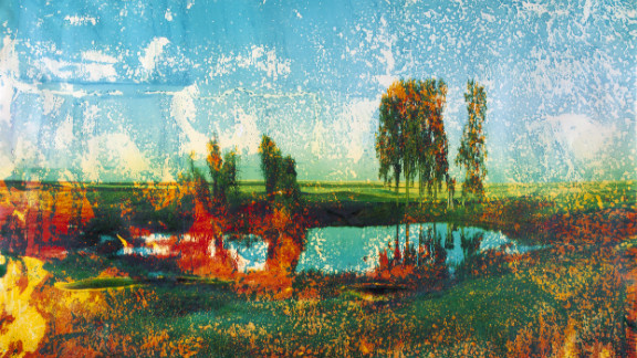 """Brandt began incoporating subject matter material in his photos because he felt it brought an objectivity to his work. Soaked in lake water, this image, called """"Mary's Lake,"""" appears almost impressionistic."""