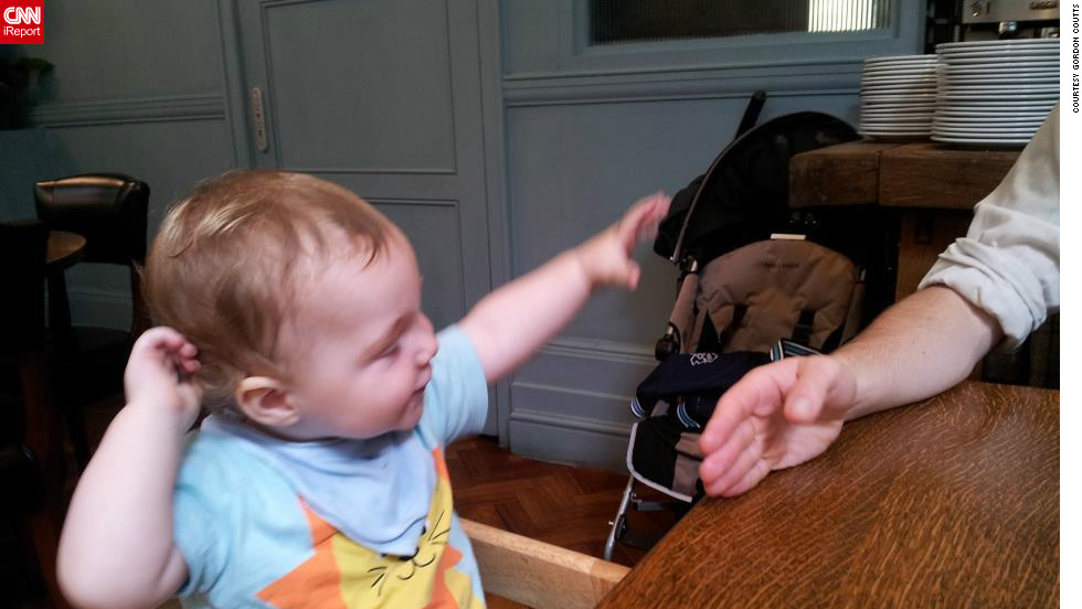 "While at a London pub for Sunday lunch with his wife and in-laws, Gordon Coutts says his 11-month-old son Drummond started bolting out of nowhere. ""It was so cute! It made everyone around the table crease up with laughter. Drummond looked at us a bit puzzled at first, but then started chuckling,"" he says."