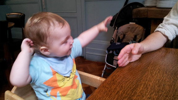 """While at a London pub for Sunday lunch with his wife and in-laws, Gordon Coutts says his 11-month-old son Drummond started bolting out of nowhere. """"It was so cute! It made everyone around the table crease up with laughter. Drummond looked at us a bit puzzled at first, but then started chuckling,"""" he says."""
