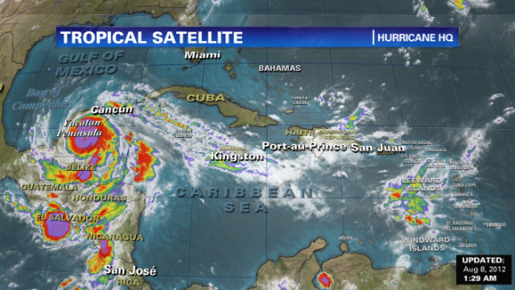 Hurricane Ernesto is expected to weaken as it crosses the Yucatan before emerging in the Bay of Campeche.