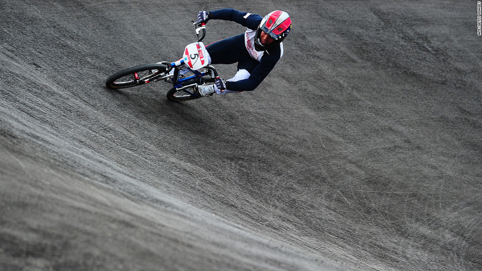 U.S. rider David Herman takes part in the BMX cycling seeding phase runs in Olympic Park.