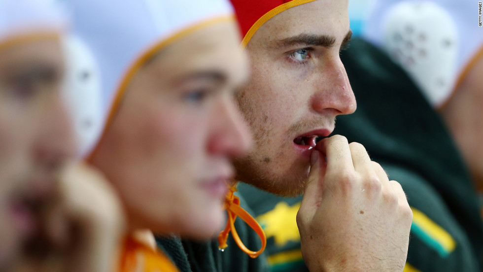 James Clark of Australia looks on from the bench during the men's water polo quarterfinal match against Serbia.