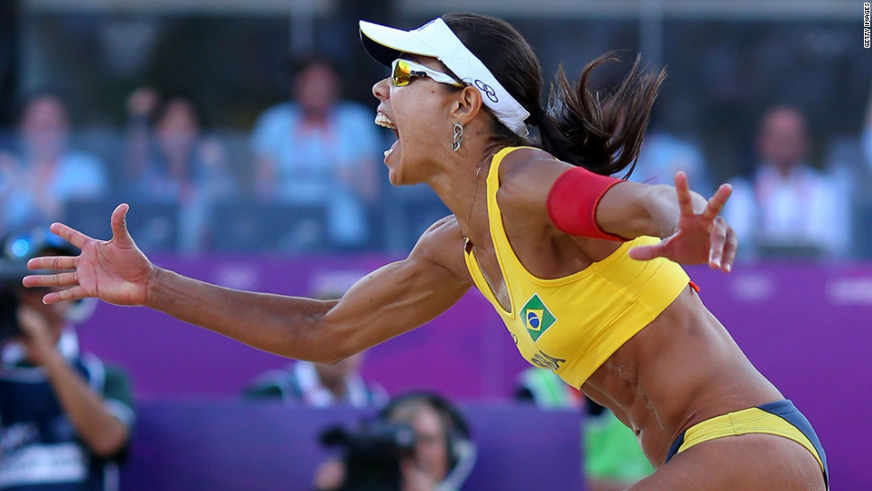 Brazilian beach volleyball player Juliana Silva celebrates during the match against China. Brazil won the bronze medal.