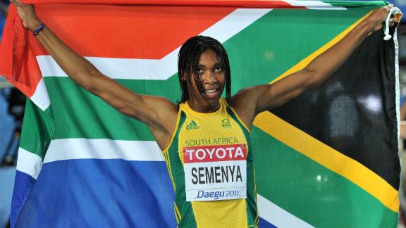 Caster Semenya celebrates taking silver at the IAAF World Championships in 2011.