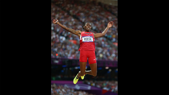 Brittney Reese of the United States competes in the women