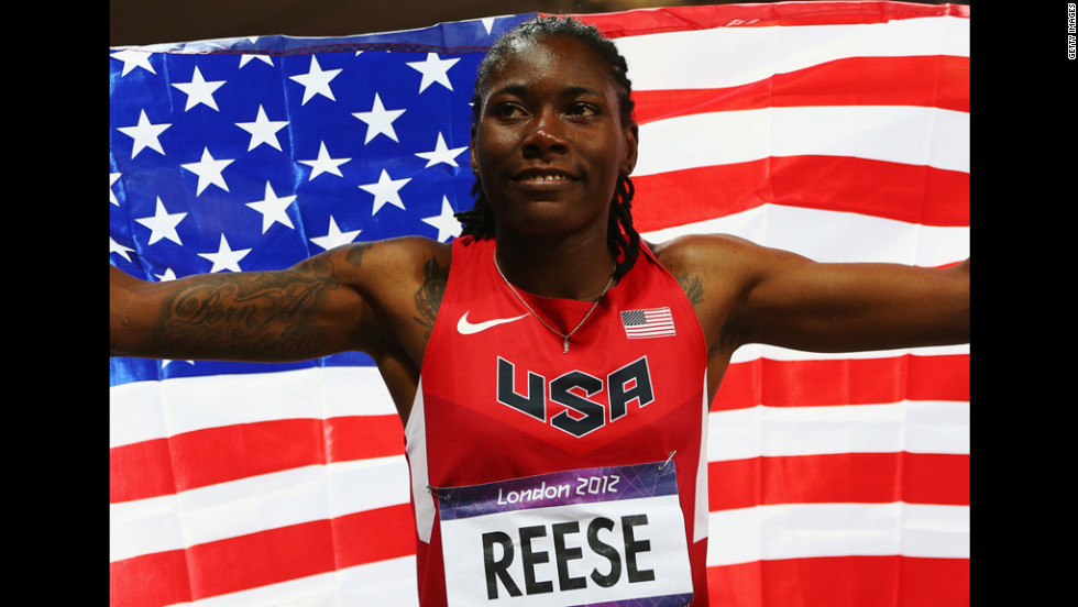 Brittney Reese of the United States celebrates winning gold in the women's long jump final.
