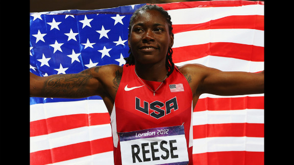 Brittney Reese of the United States celebrates winning gold in the women