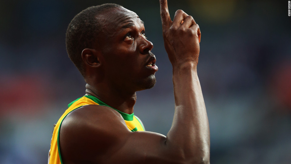 Usain Bolt of Jamaica celebrates after the men's 200-meter semifinals.