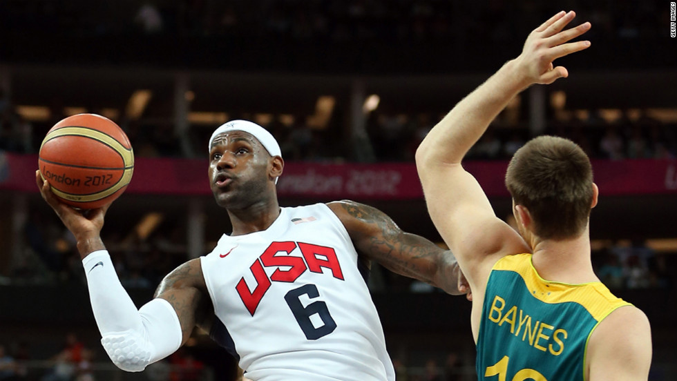 LeBron James, No.6 of United States, goes up for a shot against Aron Baynes, No.12 of Australia, in the first half during the men's basketball quarterfinal.