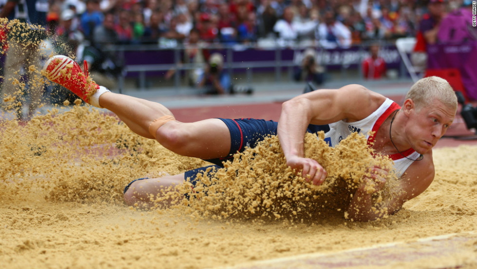 Daniel Awde of Great Britain competes in the men's decathlon long jump.