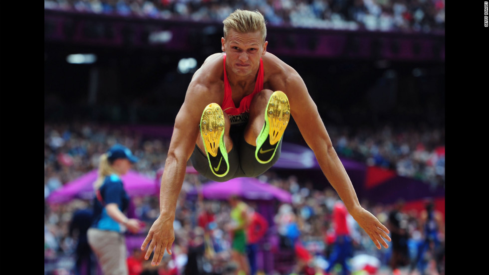 Pascal Behrenbruch of Germany competes in the men's decathlon long jump.