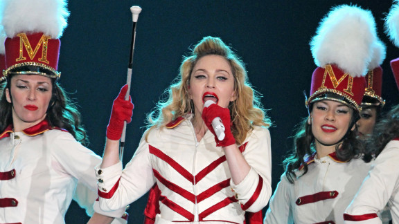 Madonna performs during her concert at Olympic Hall in Moscow on August 7, 2012.
