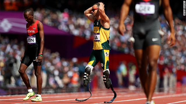 Oscar Pistorius pictured during the relay in the London 2012 Olympics.