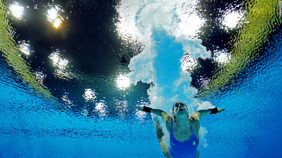 Italy's Noemi Batki competes in the women's 10-meter platform diving semifinal.