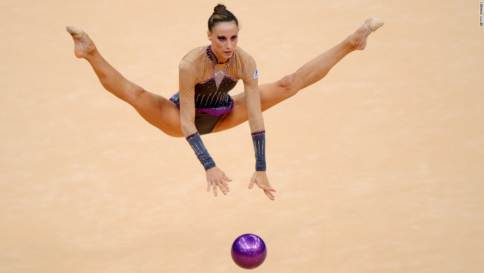 France's Delphine Ledoux  competes in the individual all-around rhythmic gymnastics.