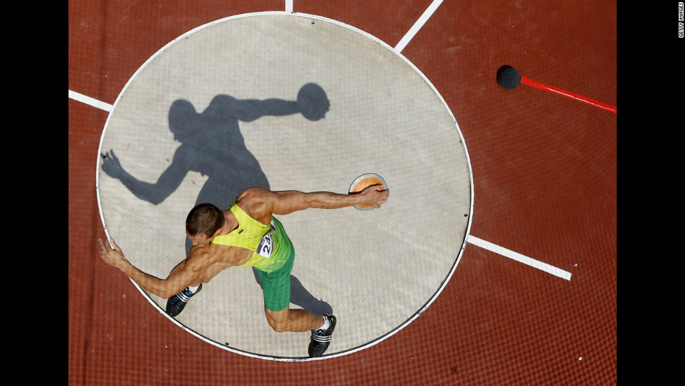 Lithuania's Darius Draudvila competes in the men's decathlon discus throw.
