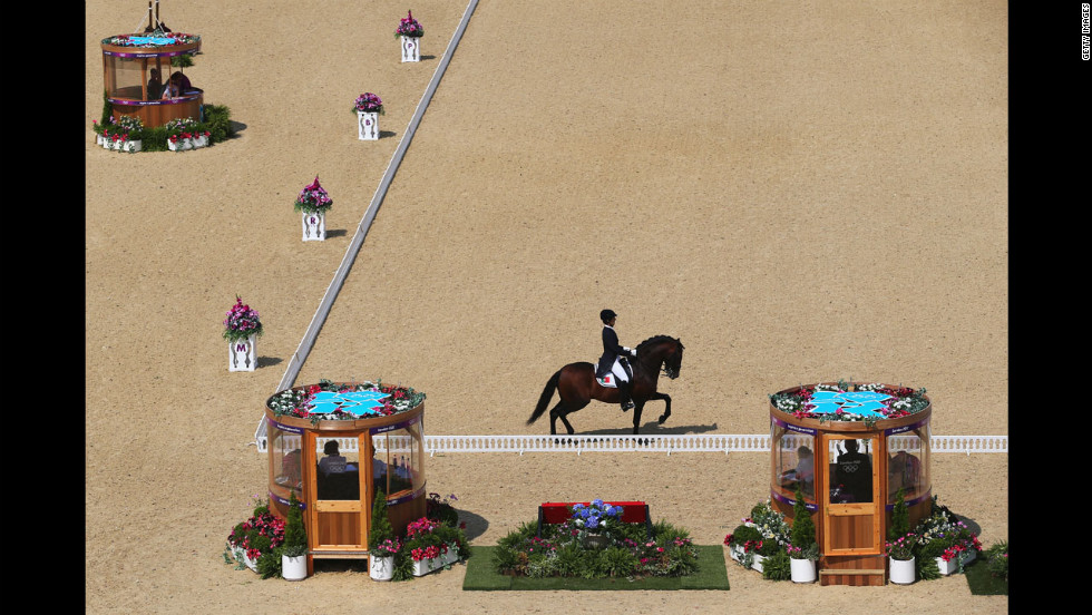 Portugal's Goncalo Carvalho rides Rubi in the individual dressage event.