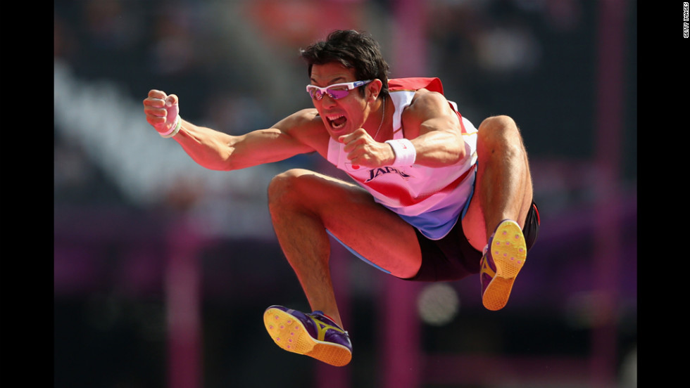 Keisuke Ushiro of Japan reacts after his decathlon pole vault.