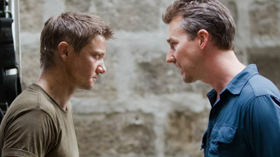 "Jeremy Renner stars as Aaron Cross and Edward Norton stars as Byer in ""The Bourne Legacy."""