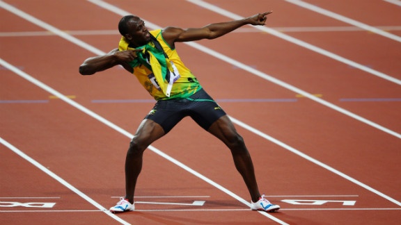 Usain Bolt of Jamaica celebrates after winning gold in the men
