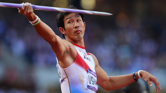 Keisuke Ushiro of Japan competes during the javelin throw in the men