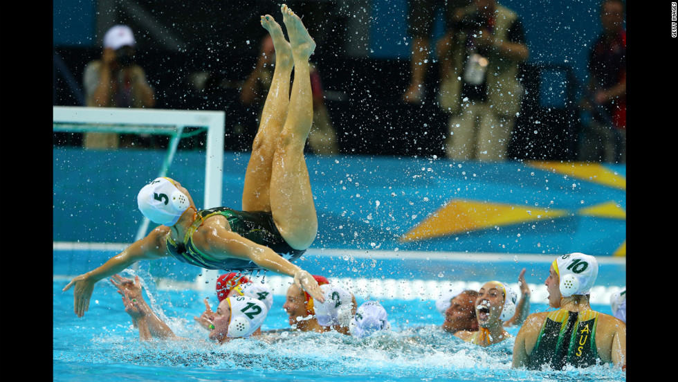 No. 5 Jane Moran of Australia celebrates winning the women's water polo bronze medal match with Hungary.