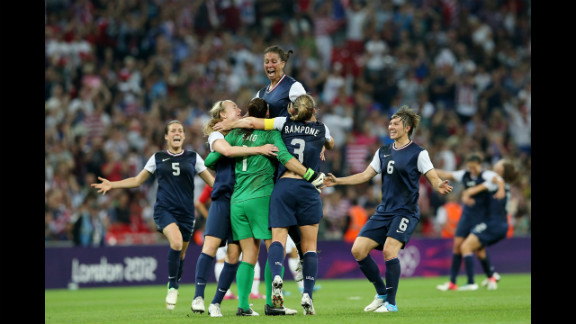 No. 1 Hope Solo, No. 7 Shannon Boxx, No. 3 Christie Rampone, No. 6 Amy LePeilbet and No. 5 Kelley O