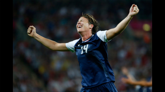 No. 14 Abby Wambach of United States reacts after a goal by No. 10 Carli Lloyd in the second half against Japan during the women