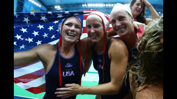 United States players celebrate winning the women