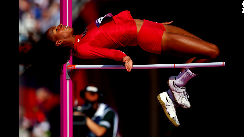 Brigetta Barrett of the United States competes during the women's high jump qualification at Olympic Stadium.