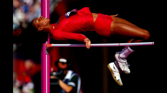 Brigetta Barrett of the United States competes during the women