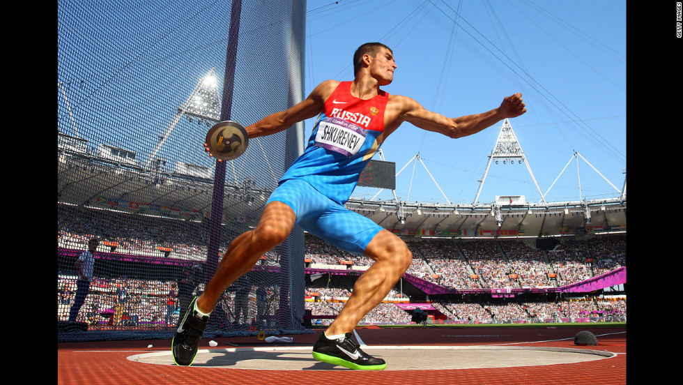 Ilya Shkurenev of Russia makes a throw during the men's decathlon discus throw.