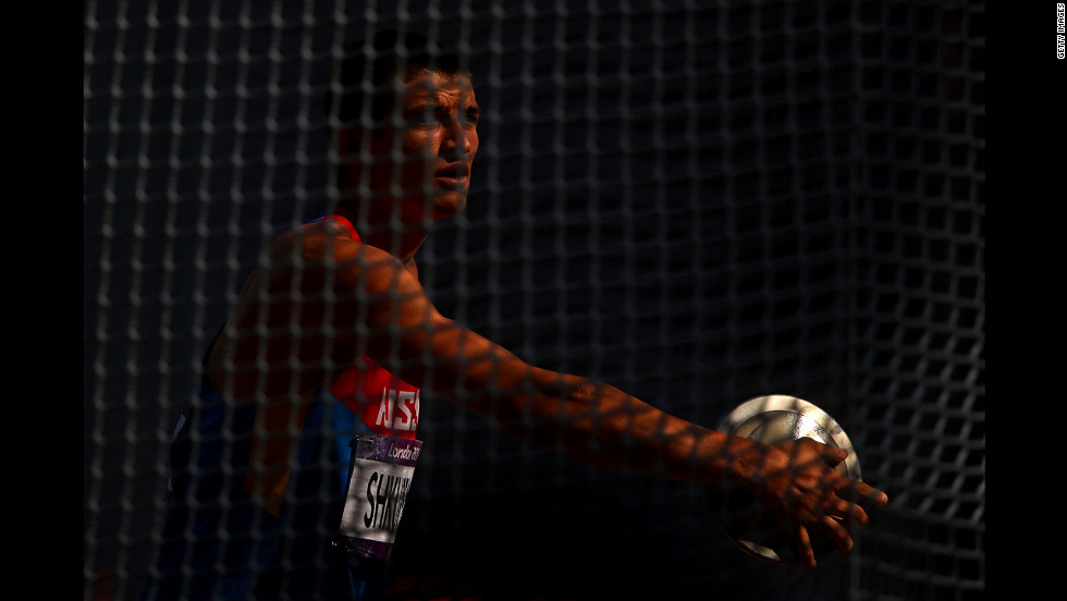 Ilya Shkurenev of Russia prepares to throw in the men's decathlon discus throw.