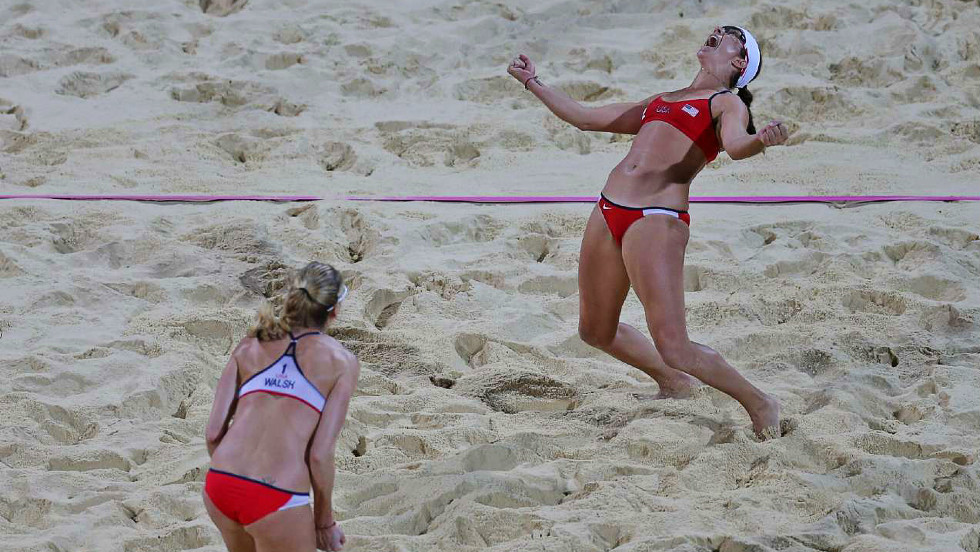 May-Treanor is jubilant following after clinching a third gold medal alongside partner Kerri Walsh Jennings.
