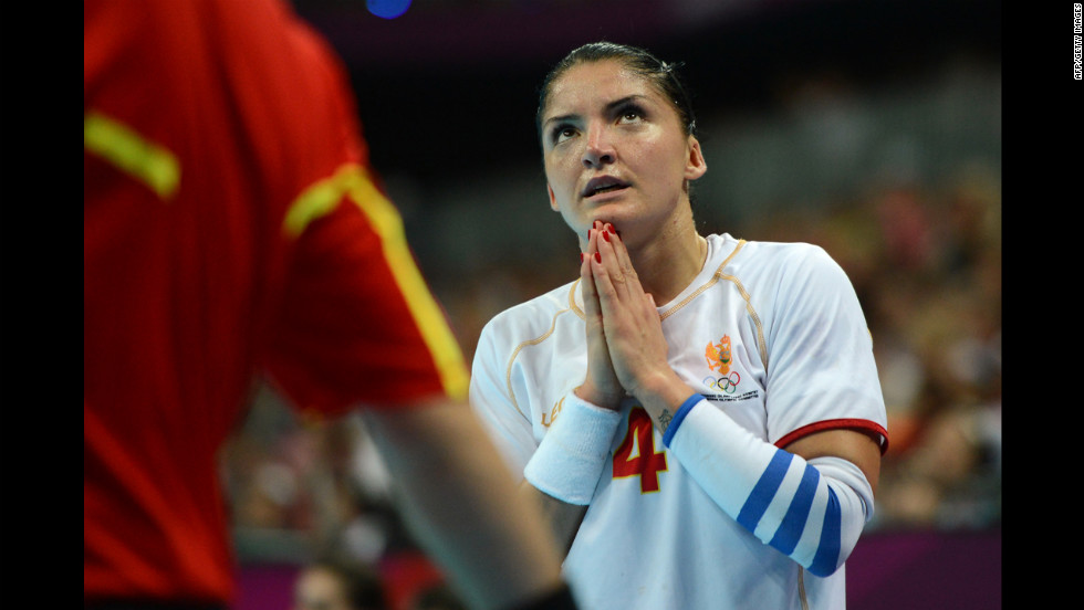 Montenegro's right wing Jovanka Radicevic reacts during the women's semifinal handball match between Spain and Montenegro.