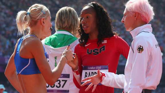From left, Adonia Steryiou of Greece, Brigetta Barrett of the United States and Ariane Friedrich of Germany converse during the women